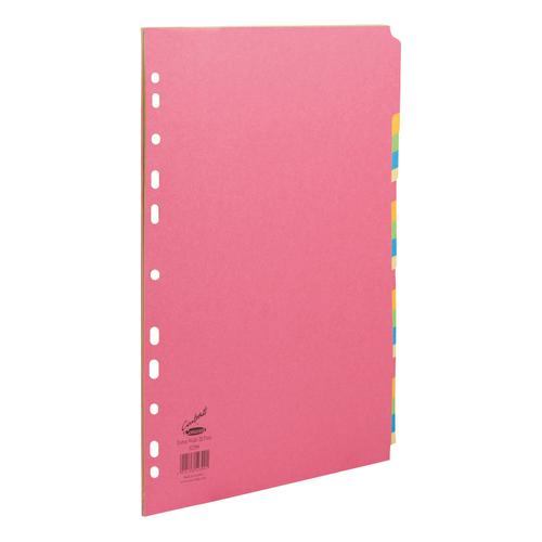 Concord Bright Subject Dividers 20-Part Card Multipunched Extra Wide 160gsm A4+ Assorted Ref 52399