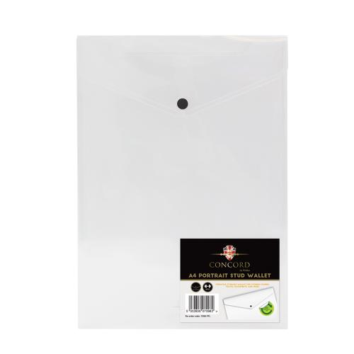 Concord Portrait Stud Wallet File Polypropylene A4 Clear Ref 7098-PFL [Pack 5]