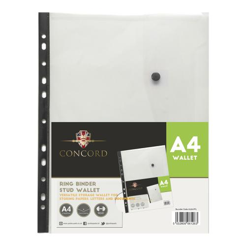 Concord Ring Binder Stud Wallet Polypropylene with Card Pocket 180 Micron A4 Clear Ref 6126-PFL [Pack 5]