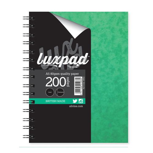 Silvine Notebook Twinwire Sidebound 75gsm Ruled Perforated 200pp A5 Green Ref SPA5 [Pack 6]