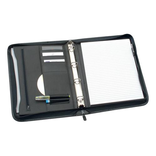 5 Star Office Zipped Conference Ring Binder Capacity 25mm Leather Look A4 Black