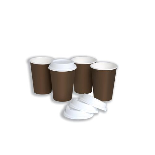 Hot Drink Cup Single Walled & Drink Through Lid Combi Pack 10oz 296ml Ref 0511093 [Pack 50]