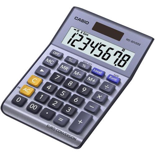 Casio Semi-desk Calculator 8 Digit 3 Key Memory Battery/Solar Power 103x31x145mm Silver Ref MS-80VER II