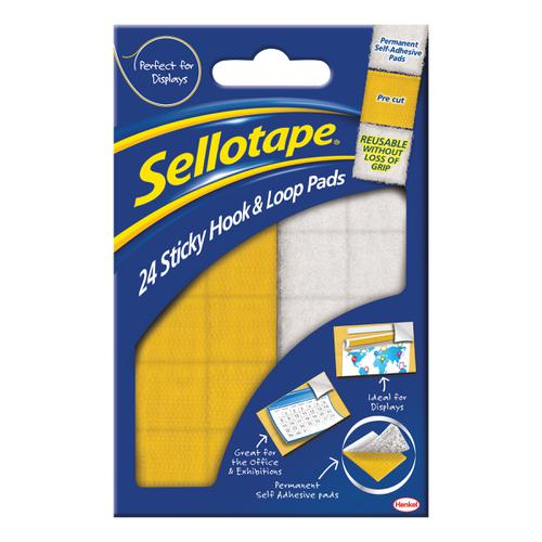 Sellotape Permanent Sticky Hook and Loop Pads 24 Sets 20x20mm Ref 1445176