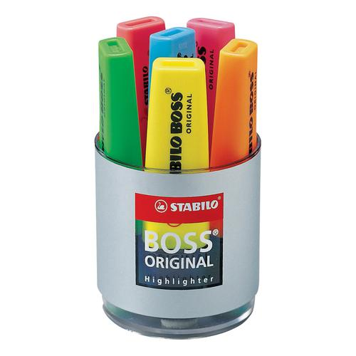 Stabilo Boss Highlighters Chisel Tip 2-5mm Line Set of Six Pens in Pot Assorted Ref 7006 [Pack 6]