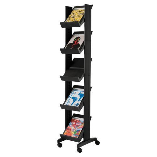 Fast Paper Literature Display Corner Mobile 5 Shelves 35mm Lip Black Ref 259N.01