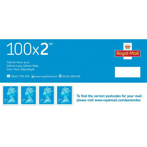 Royal Mail Second Class Stamps [Pack 100]