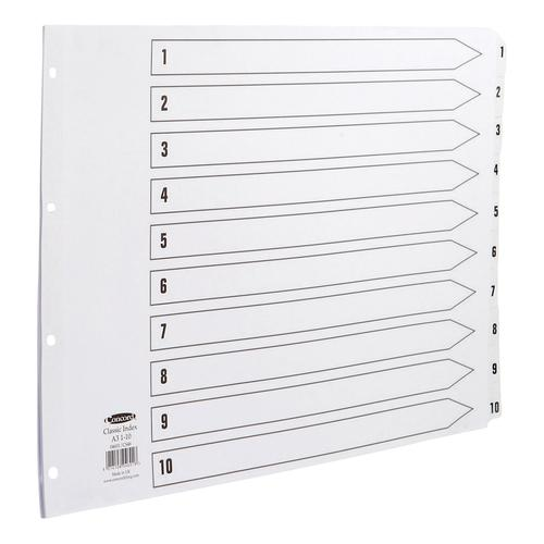Concord Classic Index 1-10 Mylar-reinforced Punched 4 Holes150gsm A3 Landscape White Ref CS46