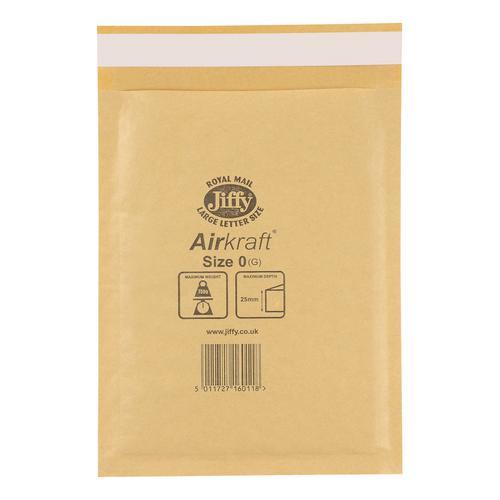 Jiffy Airkraft Bubble Bag Envelopes Size 0 Gold 140x195mm Gold Ref JLGO0 [Pack 100]