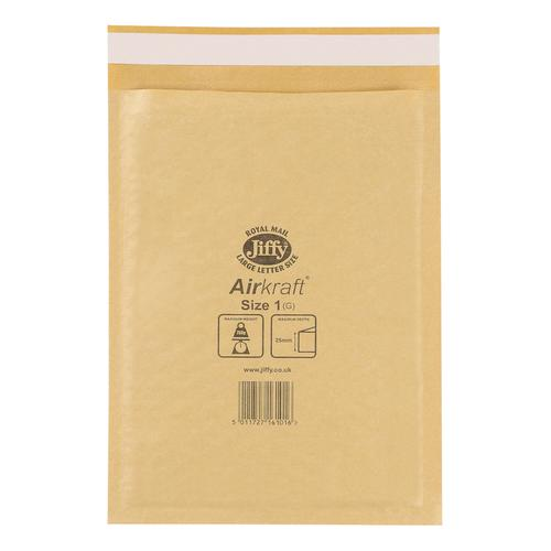 Jiffy Airkraft Bubble Bag Envelopes Size 1 170x245mm Gold Ref JL-GO-1 [Pack 100]