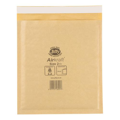 Jiffy Airkraft Bubble Bag Envelopes Size 2 205x245mm Gold Ref JL-GO-2 [Pack 100]
