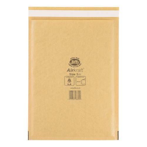 Jiffy Airkraft Bubble Bag Envelopes Size 3 220x320mm Gold Ref JL-GO-3 [Pack 50]