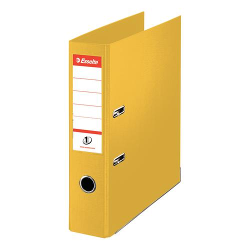 Esselte FSC No. 1 Power Mini Lever Arch File PP Slotted 50mm Spine A4 Yellow Ref 811410 [Pack 10]