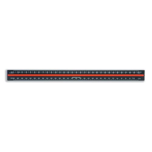 Linex Scale Ruler Triangular Aluminium Colour-coded Scales 1:1 to 1:2500 300mm Black Ref LXH382