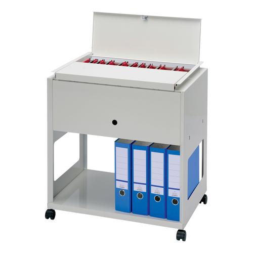 Universal Filing Trolley inc Shelf & Locking Lid Steel Capacity 120 A4 or F/S Files W650xD440xH700mm Grey