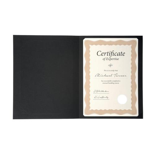 Certificate Covers Linen Finish Heavyweight Card 240g A4 Black [Pack 5]