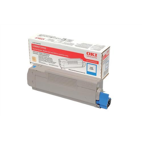 OKI Laser Toner Cartridge Page Life 5000pp Cyan Ref 43324423