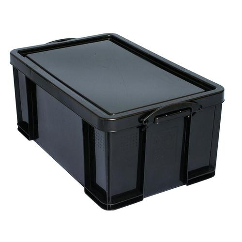 Really Useful Storage Box Plastic Recycled Robust Stackable 64 Litre W440xD710xH310mm Black Ref 64L