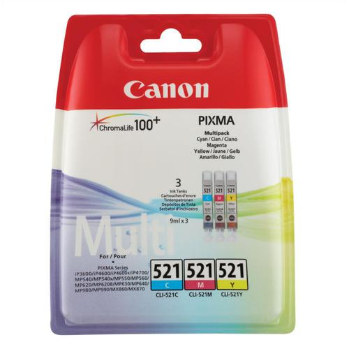 CanonCLI-521IJCartridges PageLife448ppCyan/ PageLife450ppMagenta/PageLife477ppYellow9mlRef2934B007 [PK3]