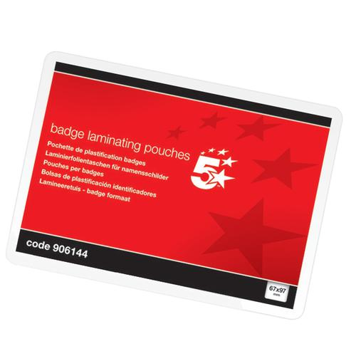 5 Star Office Laminating Pouches 250 Micron for Badge size [67x97mm] Gloss [Pack 100]