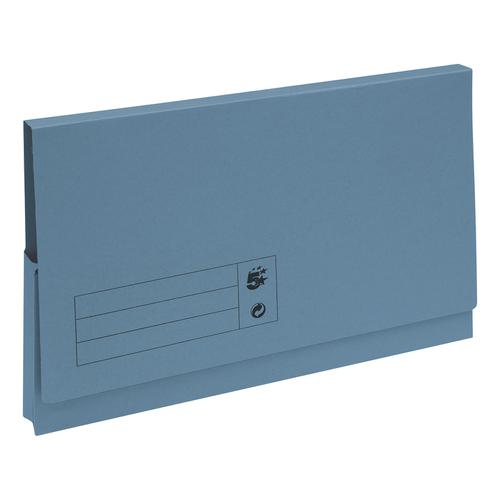 5 Star Office Document Wallet Full Flap 285gsm Recycled Capacity 32mm Foolscap Blue [Pack 50]