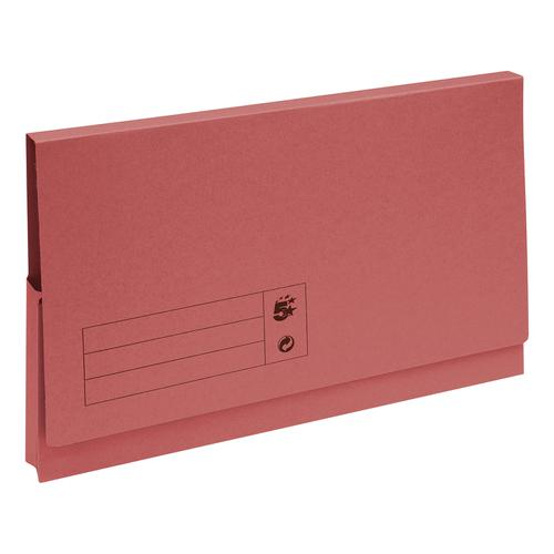 5 Star Office Document Wallet Full Flap 285gsm Recycled Capacity 32mm Foolscap Red [Pack 50]