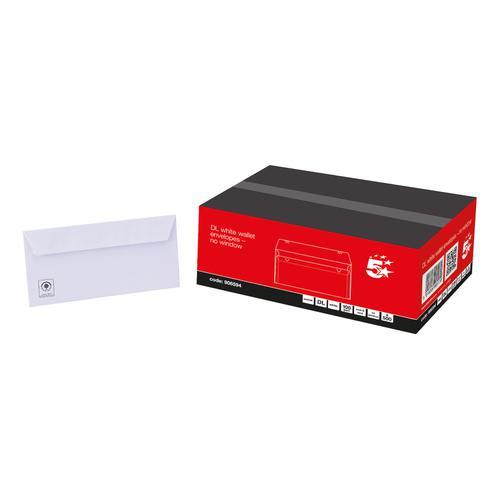 5 Star Office Envelopes PEFC Wallet Peel & Seal 100gsm DL 220x110mm White [Pack 500]