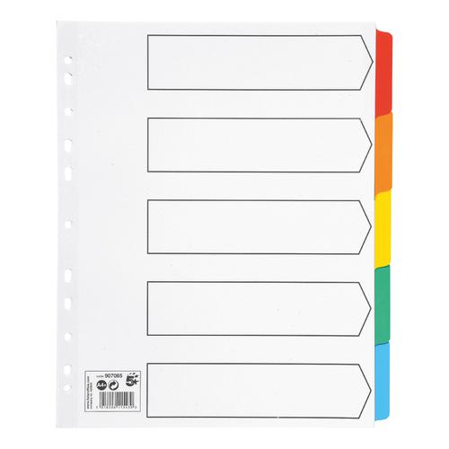 5 Star Office Maxi Dividers 5-Part Multipunched Mylar-reinforced Coloured-Tabs 150gsm Extra Wide A4 White