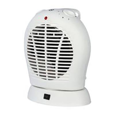 2kW Upright Oscillating Fan Heater with Thermostat 2 Heat Settings 1kW 2kW White Ref HG01168