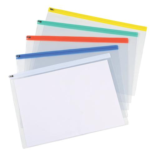 5 Star Office Zip Filing Bags Clear Front with Coloured Seal A3 Assorted [Pack 5]