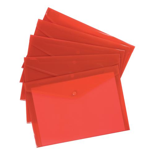 5 Star Office Envelope Stud Wallet Polypropylene A4 Translucent Red [Pack 5]