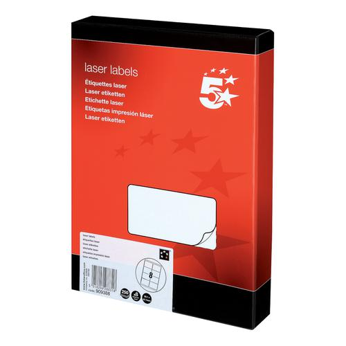 5 Star Office Multipurpose Labels Laser Copier Inkjet 8 per Sheet 99.1x67.7mm White [2000 Labels]