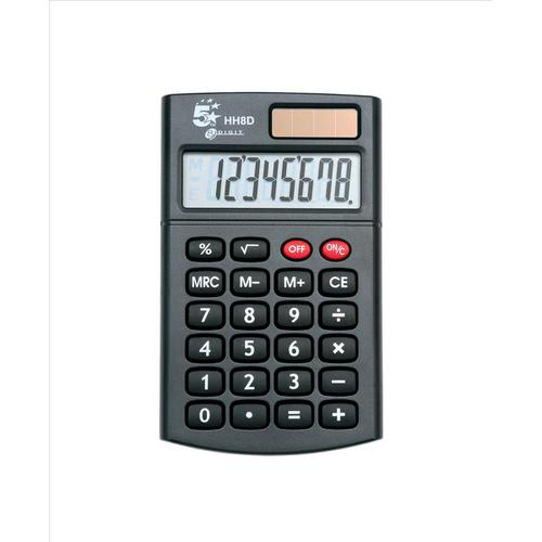 5 Star Office Handheld Calculator 8 Digit 3 Key Memory Solar and Battery Power 56x8x100mm Black