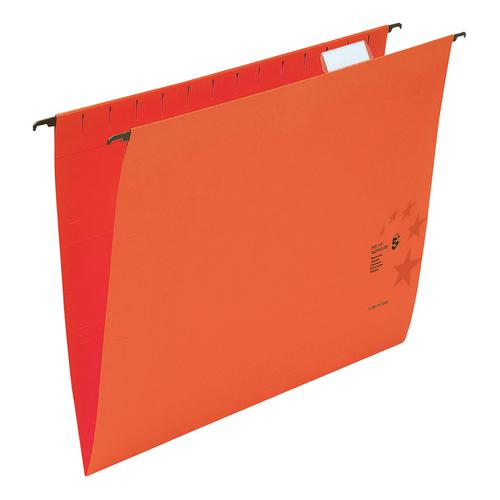 5 Star Office Suspension File with Tabs and Inserts Manilla 15mm V-base 230gsm Foolscap Red [Pack 50]