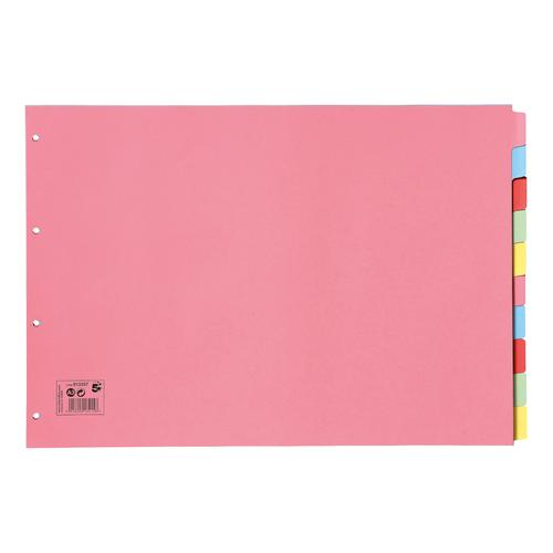 5 Star Office Subject Dividers 10-Part Recycled Card Multipunched 155gsm Landscape A3 Assorted