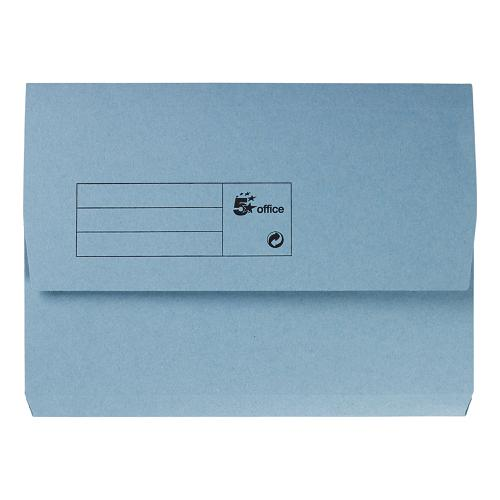 5 Star Office Document Wallet Half Flap 285gsm Recycled Capacity 32mm A4 Blue [Pack 50]