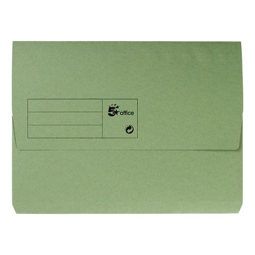 5 Star Office Document Wallet Half Flap 285gsm Recycled Capacity 32mm A4 Green [Pack 50]