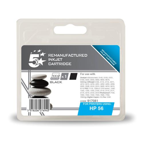 5 Star Office Remanufactured Inkjet Cartridge Page Life 520pp 19ml Black [HP No.56 C6656AE Alternative]