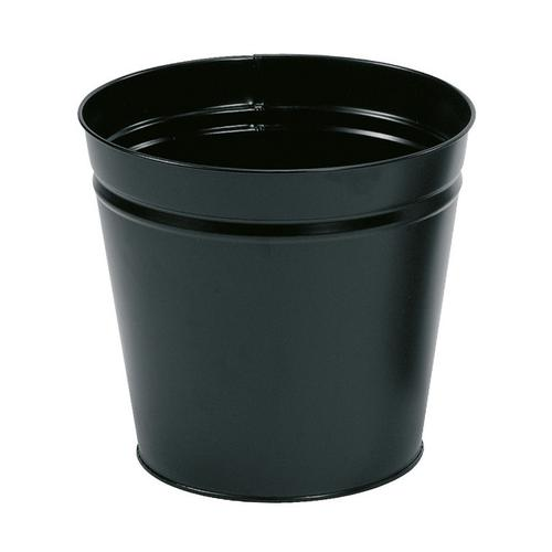 5 Star Facilities Waste Bin Round Metal Scratch Resistant 15 Litre Capacity 300x280mm Black