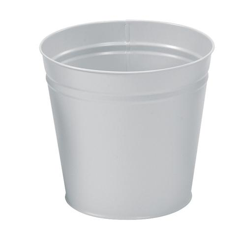 5 Star Facilities Waste Bin Round Metal Scratch Resistant 15 Litre Capacity 300x280mm Metallic Silver