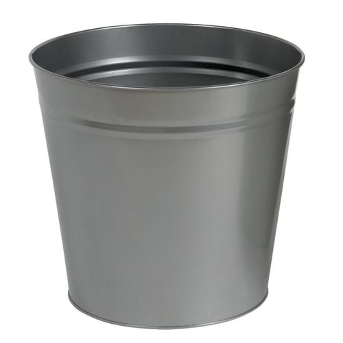 5 Star Facilities Waste Bin Round Metal Scratch Resistant 15 Litre Capacity 300x280mm Grey