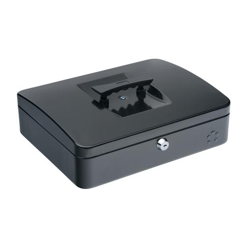 5 Star Facilities Cash Box with 5-compartment Tray Steel Spring Lock 12 Inch W300xD240xH70mm Black