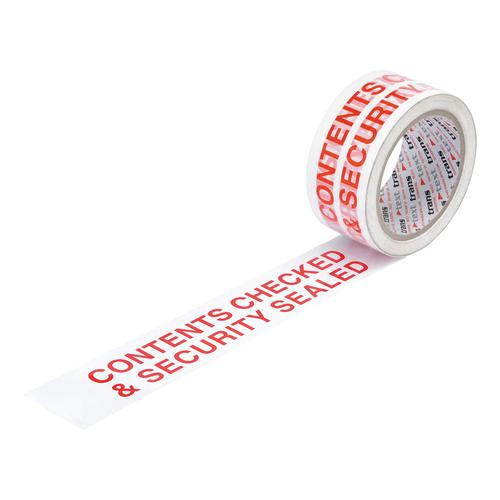 5 Star Office Printed Tape Contents Checked and Sealed Polypropylene 48mmx66m Red Text on White [Pack 6]