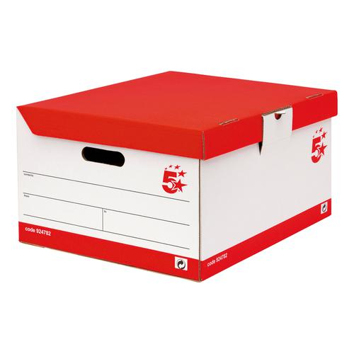 5 Star Office FSC Storage Trunk Hinged Lid Self-assembly W387xD448xH254mm Red & White [Pack 10]