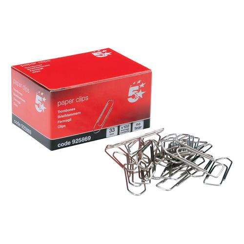 5 Star Office Paperclips No Tear Extra Large Length 33mm [Pack 10x100]