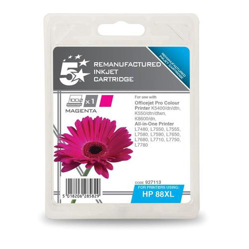5 Star Office Remanufactured InkjetCart Page Life 1980pp 17.1ml Magenta [HP No.88XL C9392AE Alternative]
