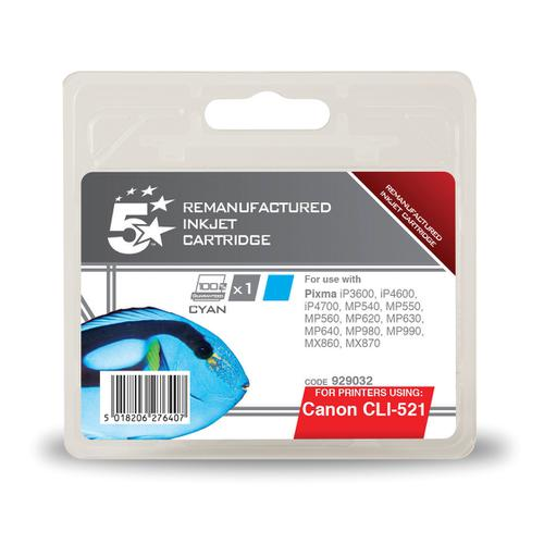 5 Star Office Remanufactured Inkjet Cartridge Page Life 448pp 9ml Cyan [Canon CLI-521C Alternative]