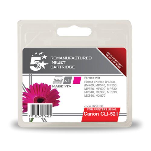 5 Star Office Remanufactured Inkjet Cartridge Page Life 450pp 9ml Magenta [Canon CLI-521M Alternative]
