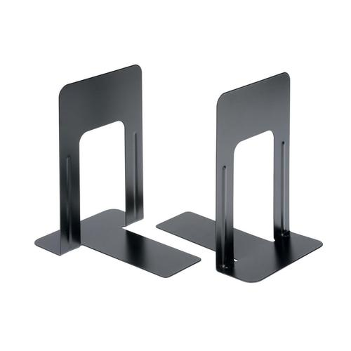 5 Star Office Bookends 224mm Metal Heavy Duty 9 Inch Black [Pack 2]
