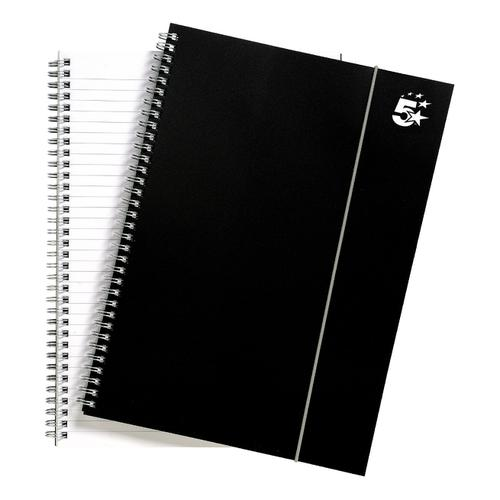 5 Star Office Notebook Wirebound Polypropylene 80gsm Ruled 160pp A4 Black [Pack 6]